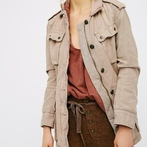FREE PEOPLE Military Utility Jacket Rose Beige